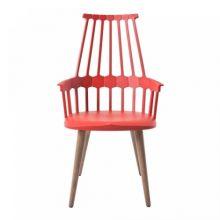 Comback krzeslo 58x100x50cm nozki czerwono-pomaranczowy-debowy