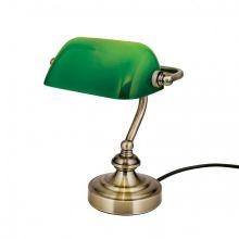 Bankerslamp lampa stołowa 1x40W E14 230V zielona/patyna