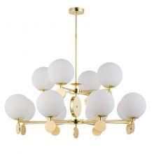 Dimaro  lampa wisząca żyrandol 8x60W + 4x60W E27 złota + opal klosz