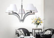 Tucan lampa wisząca 5x60W E27 230V chrom / biały abażur
