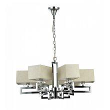Megapolis żyrandol lampa wisząca 6x40W E14 230V nikiel/lniany abażur