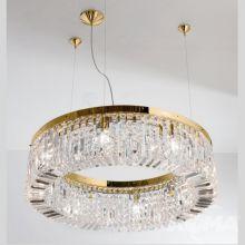 Ring lampa wisząca żyrandol 8x40W E14 230V transparentny/złoty