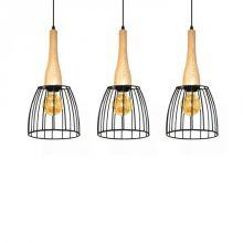 Terata lampa wisząca 3x60W E27 230V czarna/drewno