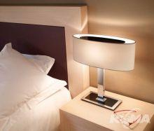 Oval-t lampa stołowa 1x46W E27 chrom z czarnym szkłem/biała bawełna z dyfuzorem