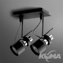 Reflektor czarny (mat) 2x50W E27 230V