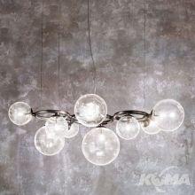 Puppet_ring lampa wisząca kryształ/czarny nikiel 9x60W G9