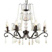 Chattisham lampa wisząca 57cm 6x40W E14 230V brąz/biel