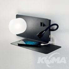 Book-2 kinkiet z gniazdem USB 1x28W G9 + 3W LED 230V czarny