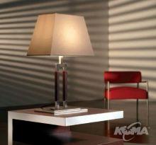 Ema lampa stolowa 1x60W E27 ciemna skora klosz bawelniany