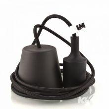 Single lampa wisząca E27 czarna