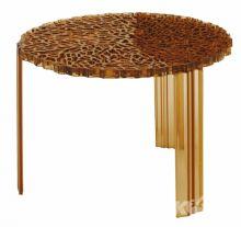 T-table stolik d50cm h36cm bursztynowy
