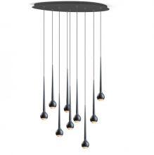 Falling water lampa wisząca plafon czarny mat  9x11W LED  6930lm 2700K