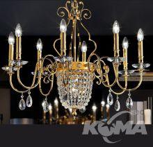 Elegantia żyrandol  złoty cięty kryształ 1x60W+8x40W