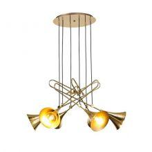 Jazz lampa wisząca 6x20W E27 230V złota-czarny przewód