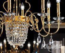 Elegantia Żyrandol złoty kryształ cięty 12x40w+1x60W