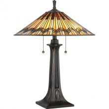 Alcott lampa stołowa 2x60W E27 230V brąz/mozaika