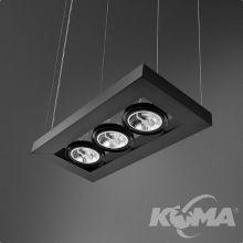 Cadva lampa wisząca czarna (mat) 3x100W AR111 230V