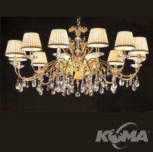 Primadonna żyrandol złoty cięty kryształ 12 płomienny 12x40W