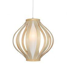 Milton lampa wisząca 1x60W E27 230V biała/drewno