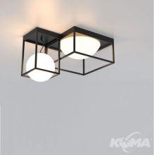 Desigual lampa sufitowa 4x20W E27 szkło opal czarna