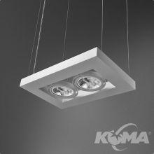 Cadva lampa wisząca biała (mat) 2x100W AR111 230V