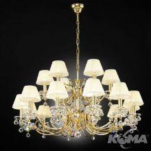 Kristalldesign  żyrandol kryształ Swarovski pozłacany 24-karatowym złotem 18x40W E14 abażur szampański  nr 4469