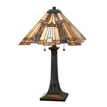 Inglenook lampa stołowa 2x75W E27 230V brąz/mozaika