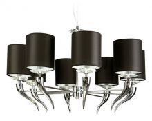 Lanta lampa wisząca 8x40W E14 230V czarny abażur / chrom