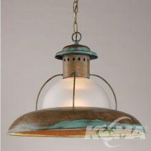 Lampa wisząca 1x60W E27 antyczna zieleń 25 / mleczny klosz