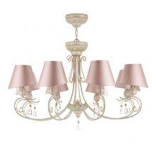 Cutie lampa wisząca żyrandol 8x40W E14 230V beżowa+różowy abażur