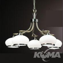 Vego żyrandol lampa wisząca 5x60W E27 230V antyczny mosiądz/biały klosz