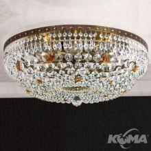 Sheraton plafon sufitowy Ø55cm patyna kryształ SCHÖLER CRYSTAL® 6x60W E27 230V