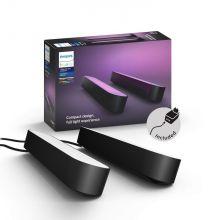Col Hue Play lampa stołowa/listwa/kinkiet 2x6,6W LED RGB 230V czarna + zasilacz (zestaw dwóch lamp)