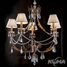 Miramare żyrandol lampa wisząca 5x40W E14 230V srebrny/złoty + abażur szampański