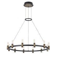 Alamo żyrandol industrialny śr 81 48W LED 3000K czarny mat / szczotkowany kawowy klosz mrożony akryl