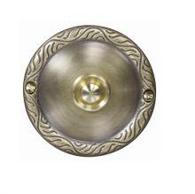 Przycisk dzwonkowy ozdobny z szyldem okrągłym mosiężny 1a/50v pdm-231-mos