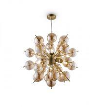 Bolla lampa wisząca sufitowa 4x60W E27 bursztynowa / mosiądz