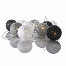 Twix Cotton Ball kulki łańcuch świetlny 10x0,6W LED 3xAA szary/czarny/biały