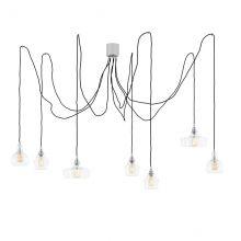 Longis spider lampa wisząca chrom/czarny/transparent 7x60W E27