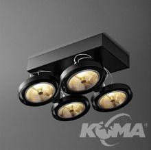 Bares oprawa sufitowa czarny mat  reflektor 4x50W AR111 G53 12V\/230V