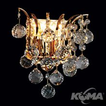 CRISTAL CLASSIC kinkiet złoty kulki kryształ Asfour  2x40W E14