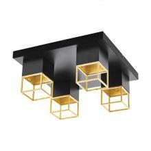 Montebaldo oprawa sufitowa plafon czarny/złoty 4x5W 4x400lm 3000k