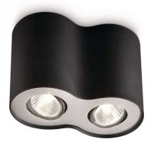 Pillar lampa sufitowa 2x50W GU10 230V czarna/aluminium