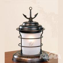 Caravela lampa stołowa 1x42W E14 ziemisty brąz/szklo mrożone z motywem statka