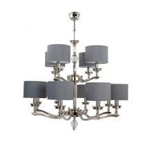 Tivoli lampa wisząca żyrandol mosiądz niklowany  (8+4) 12x60W E14 + abażur 24 szary