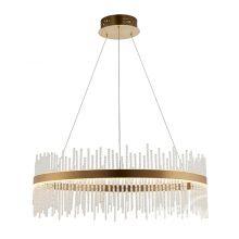 Ring lampa wisżaca ring z soplami 57W led złoty szczotkowany plus szklane pręty