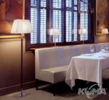 Tau pie lampa podlogowa 1x60W E27 nikiel/skora ciemny braz/wstazka biala