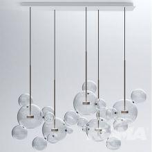 Bubbles 24 lampa wisząca transparentna 5x14W led + złote dodatki