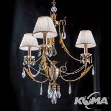 Miramare zyrandol 3x40W płomienny srebrno-złoty z białymi abażurami w krysztale schÖler