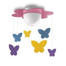 Meria plafon dziecięcy motylki 1x15W E27 230V różowy - wielokolorowy